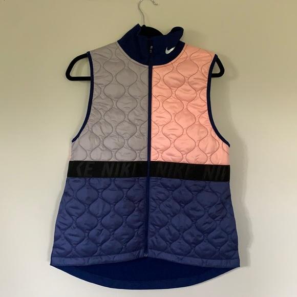 Nike colour block running vest pink blue grey